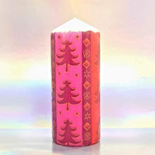 Load image into Gallery viewer, Christmas trees pillar candle, unique festive home decor, Christmas centrepiece, gift for her, mom, friend, family