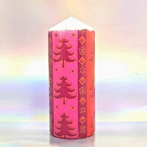 Christmas trees pillar candle, unique festive home decor, Christmas centrepiece, gift for her, mom, friend, family
