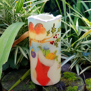 Christmas LED flameless wax pillar candle, 3D snow effect shimmering decorative candle, Unique Christmas gift, home decor