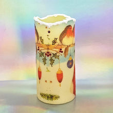 Load image into Gallery viewer, Christmas LED flameless wax pillar candle, 3D snow effect shimmering decorative candle, Unique Christmas gift, home decor