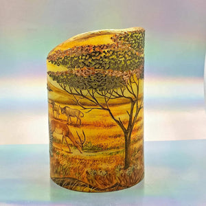 LED flameless pillar candle, Unique 3D effect, African wildlife, Designer candle gift, home decor, nightlight