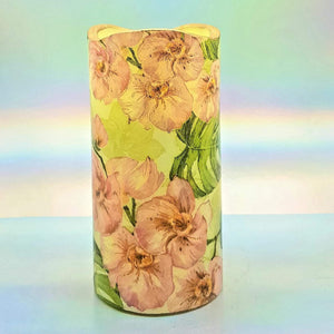 Flameless pillar candle, Floral LED decorative shimmering candle, unique gift, night light, home decor