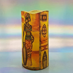 African women flameless pillar candle, LED decorative candle, gift, night light, home decor