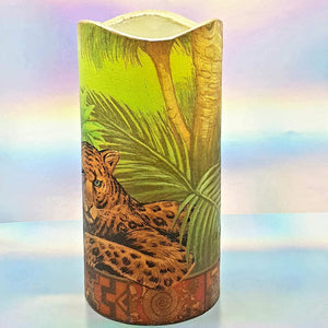 Flameless pillar candle, Leopard LED decorative candle, gift, night light, home decor