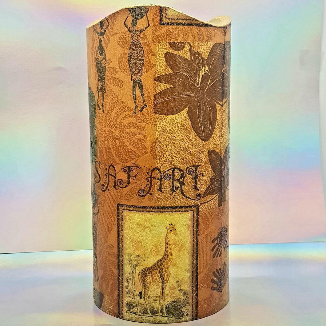 Flameless pillar candle, African safari LED decorative candle, gift, night light, home decor