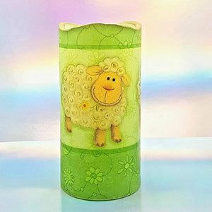 Flameless pillar candle, 3D effect LED candle gift, home decor, Three happy sheep design