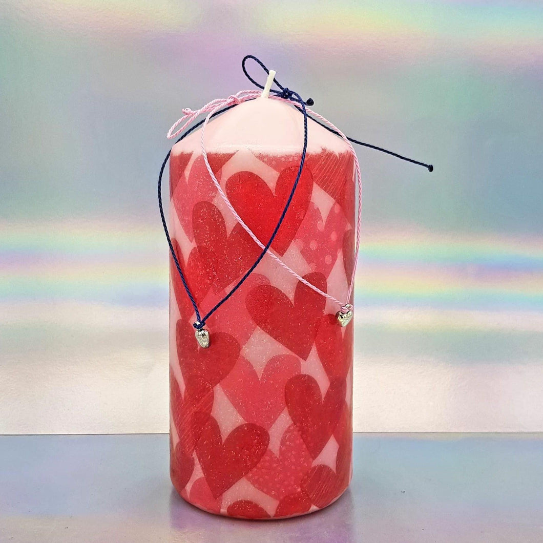 Large decorative love pillar candle and two heart charm bracelets, Unique Valentine's gift for him, her