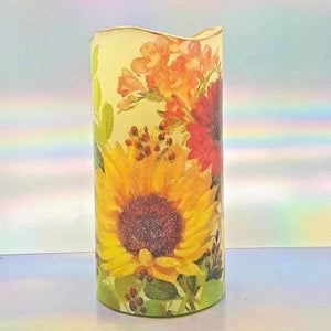 Shimmering LED candle, Flameless Sunny flowers pillar candle, unique home decor, gift
