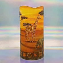 Load image into Gallery viewer, LED flameless pillar candle, Unique 3D effect, African wildlife, Designer candle gift, home decor, nightlight