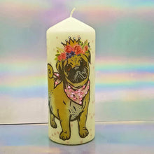 Load image into Gallery viewer, Large decorative pillar candle, decorated candle with 3D effect, Dalmatian and Pug, Unique gift, home decor