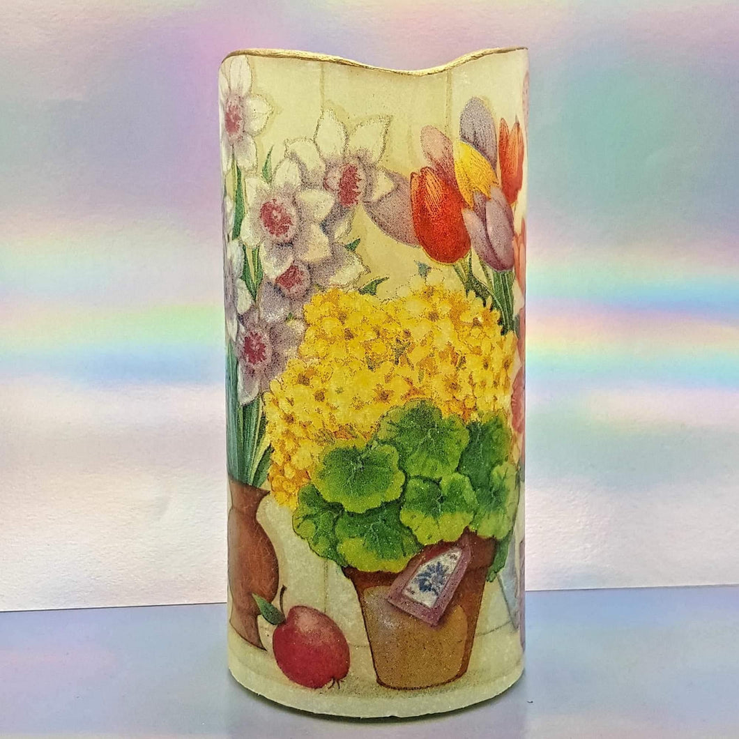 Shimmering LED pillar candle, Flameless pot of blooming spring flowers pillar candle, unique home decor, gift
