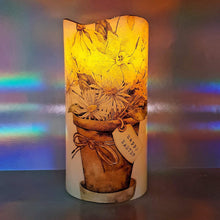 Load image into Gallery viewer, Shimmering Easter LED pillar candle, Flameless candle, unique Happy Easter home decor, gift