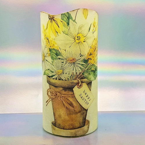 Shimmering Easter LED pillar candle, Flameless candle, unique Happy Easter home decor, gift
