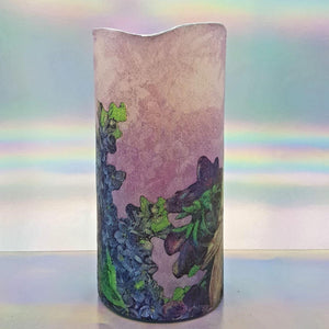 Shimmering LED pillar candle, Flameless love candle, unique Valentines home decor, gift for her, him
