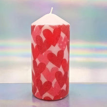 Load image into Gallery viewer, Large decorative love pillar candle and two heart charm bracelets, Unique Valentine's gift for him, her