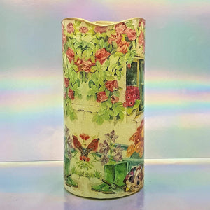 Shimmering floral LED candle, Flameless Sunny flowers pillar candle, unique home decor, gift for mom, mum