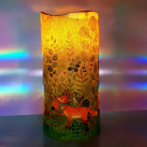 LED shimmering candle, Flameless pillar candle of forest fairy, unique home decoration, gift