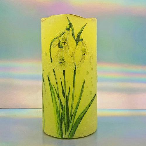 Floral LED candle, Flameless shimmering flickering pillar candle, unique spring home decor, gift for her, mom, mum