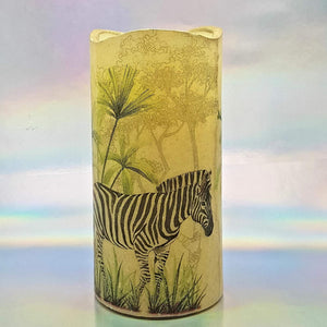LED flameless pillar candle, African giraffe and zebra, Unique designer candle gift, home decor, memory gift