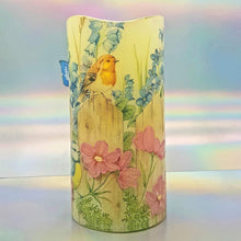 Load image into Gallery viewer, LED candle, Flameless floral birds shimmering flickering pillar candle, unique spring home decor, gift for her, mom, mum