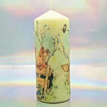 Load image into Gallery viewer, Decorative Easter pillar candle, Easter bunnies, Unique table centrepiece, home decor, gift for mother, her, birthday present