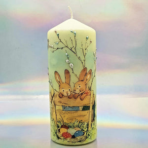 Decorative Easter pillar candle, Easter bunnies, Unique table centrepiece, home decor, gift for mother, her, birthday present
