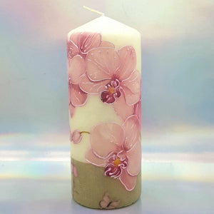 Decorative pillar candle,Pink orchids candle, Unique table centrepiece, home decor, gift for mother, her, birthday present
