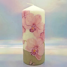 Load image into Gallery viewer, Decorative pillar candle,Pink orchids candle, Unique table centrepiece, home decor, gift for mother, her, birthday present