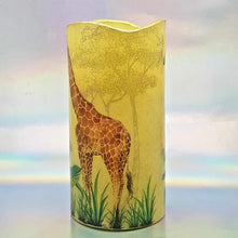Load image into Gallery viewer, LED flameless pillar candle, African giraffe and zebra, Unique designer candle gift, home decor, memory gift