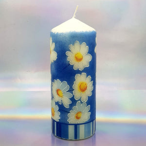 Decorative candle, Spring sunshine daisies candle, Unique table centrepiece, home decor, gift for mother, her, birthday present
