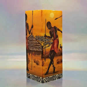 Square pillar decorative candle, 3D effect candle, African people, village candle, unique candle gift, decor