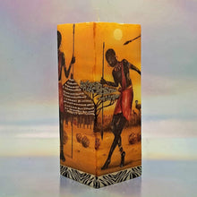 Load image into Gallery viewer, Square pillar decorative candle, 3D effect candle, African people, village candle, unique candle gift, decor