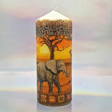 Load image into Gallery viewer, Large pillar candle, African wildlife sunset candle, unique 3D effect candle gift, decor, keepsake