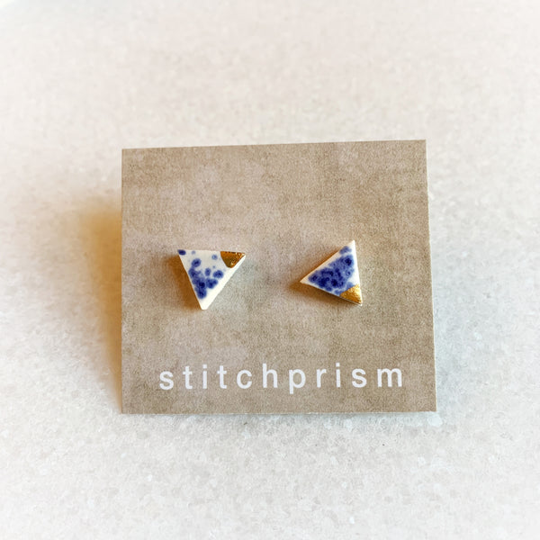 Blue Speckle Studs - Triangle (Gold/Silver)