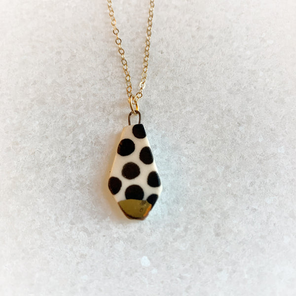 Small Abstract Cut Necklace - Black Polka Dots (Gold)