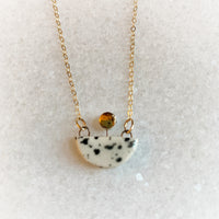 Small Boat Necklace - Black Splatter (Gold)