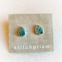 Leaf Studs - Turquoise (Gold or Silver)