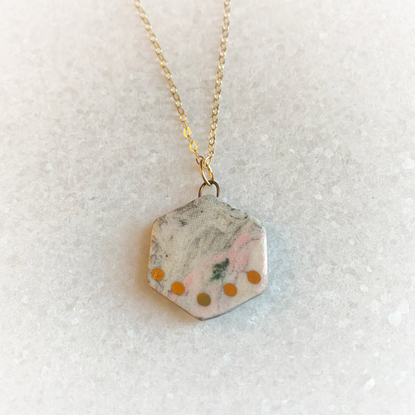Small Shape Necklace - Marble - Teardrop, Circle, Hexagon, Abstract (Gold/Silver)