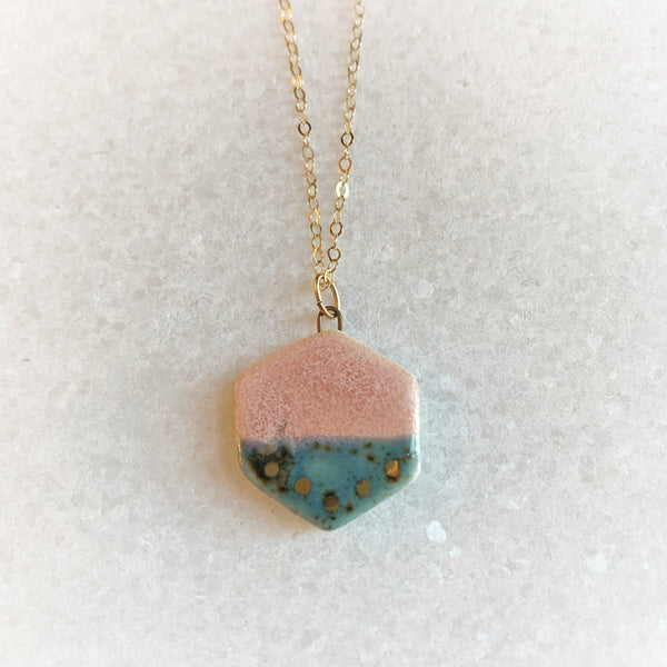 Small Shape Necklace - Rhubarb + Shipwreck - Teardrop, Circle, Hexagon, (Gold/Silver)
