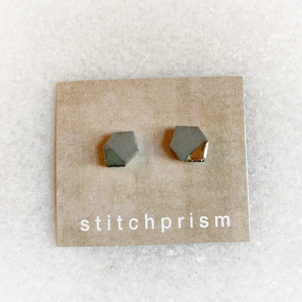 Gray Studs - Geometric (Gold/Silver)