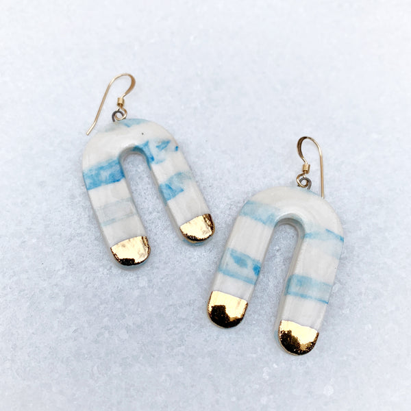 Cascade Earrings - Dangle - Medium - Blue Marble Lines + Gold
