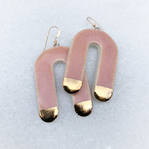 Cascade Earrings - Dangle - Large - Pink + Gold