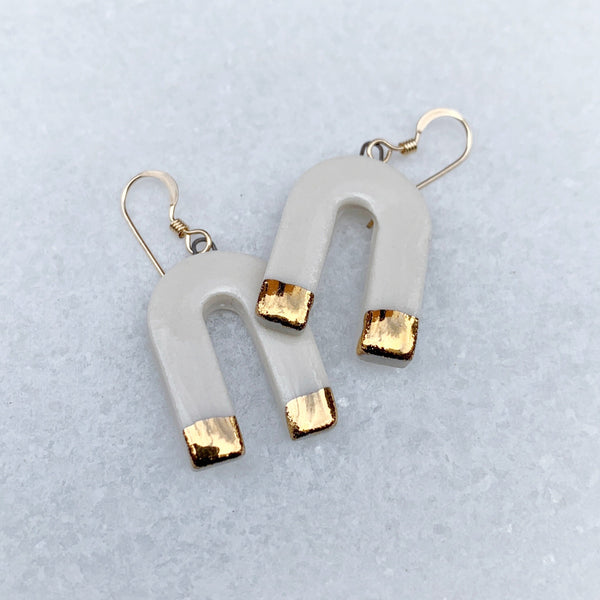 Cascade Earrings - Dangle - Small - White + Gold