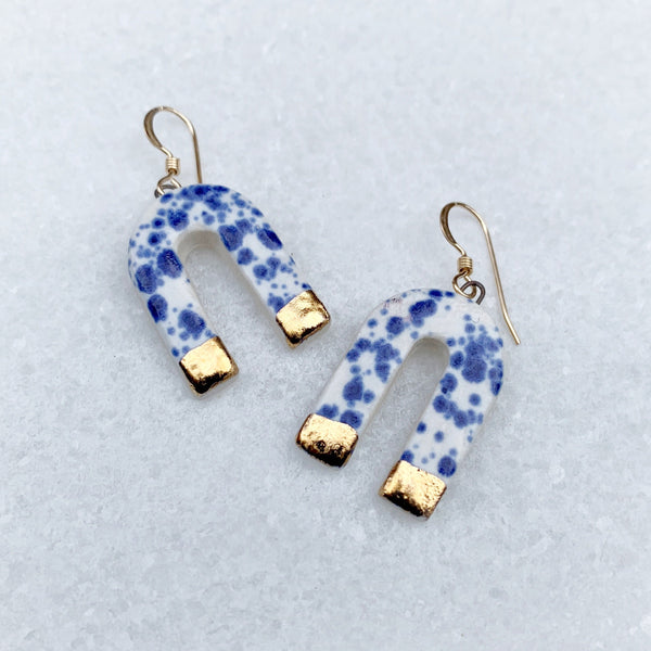 Cascade Earrings - Dangle - Small - Blue Speckle + Gold