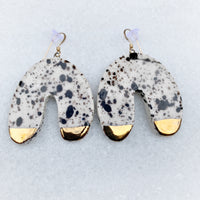 Horseshoe Earrings - Dangle - Large - Black Splatter + Gold
