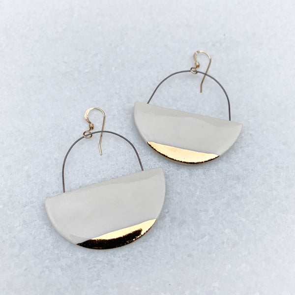 Hoop Earrings Flat - White + Gold