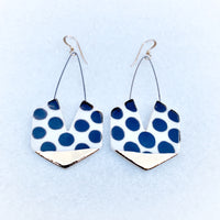 Hexagon Earring with Cutout - Black Polka Dots + Gold