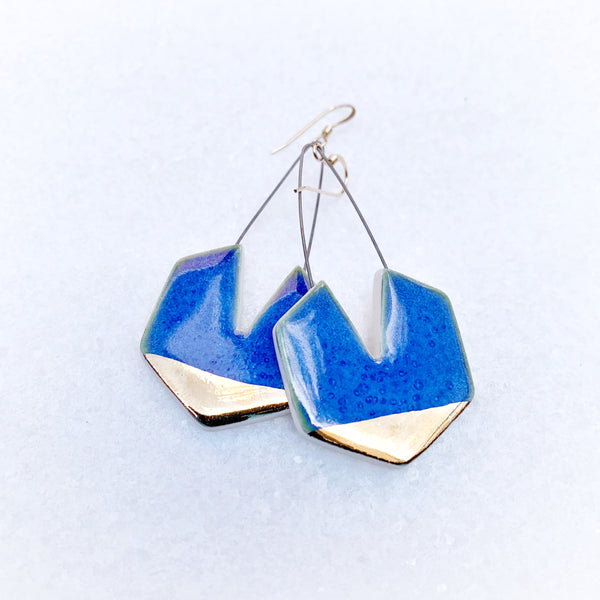 Hexagon Earring with Cutout - Blue + Gold
