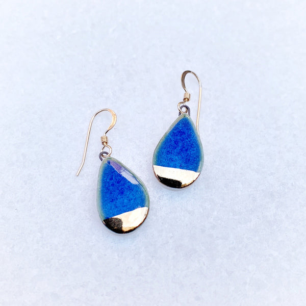Small Teardrop Earrings - Blue - (gold)