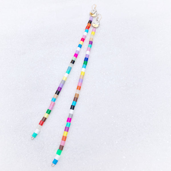 C O L O R F U L Dangle Dream Earrings - VERY Long